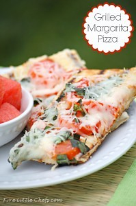 Grilled Margarita Pizza by fivelittlechefs.com Yummy grilled pizza perfecf for summer #margarita #pizza #for the grill