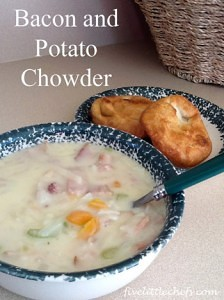 Bacon and Potato Chowder from fivelittlechefs.com #chowder #kidscooking #recipe